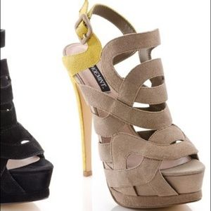 Taupe and mustard suede platform by ShoeMint